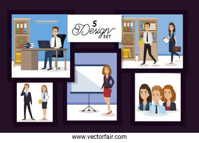 five designs of business people in the workplace