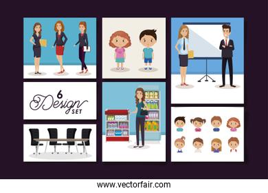 six designs of business people with children and purchaser