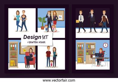 six designs of business people with members parents