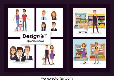 six designs of business people and purchaser with family