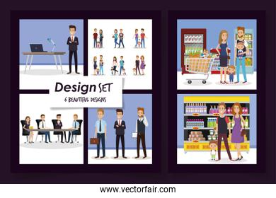 six designs of business people and purchaser