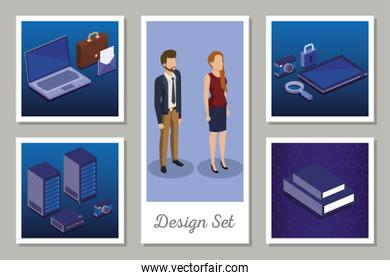 designs set of digital technology and business people