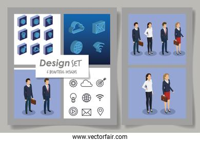 six designs of business people and social media icons