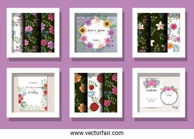 bundle of cards invitation with flowers decoration