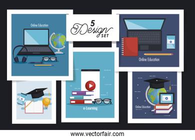 five designs of education online with icons