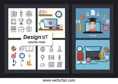 six designs of education online with icons