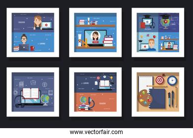 bundle of designs of education online with icons