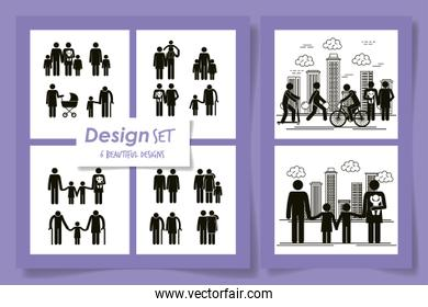 silhouette of six designs of members family