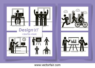 six designs of silhouettes of men doing activities