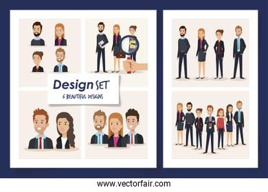 six designs of scenes business people