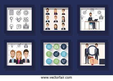 bundle of scenes business people and icons