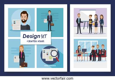 six designs of scenes resources human with icons