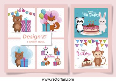 six designs of cards happy birthday with cute animals