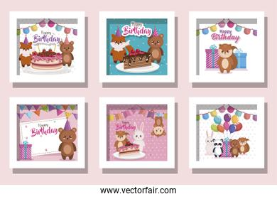pack of cards happy birthday with cute animals