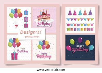 six designs of cards happy birthday with delicious food and decoration