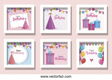 bundle of cards happy birthday and decoration