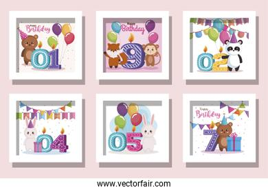bundle of cards happy birthday with cute animals and decoration