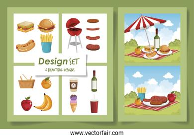 six designs of picnic scenes and delicious food