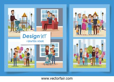 six designs of cute family in different places