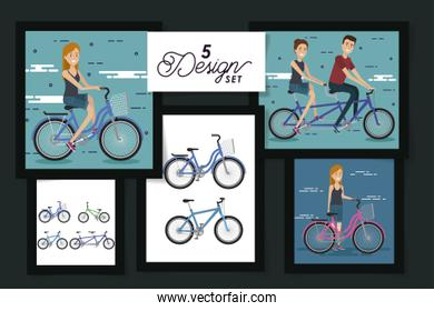 five designs of young people and bikes