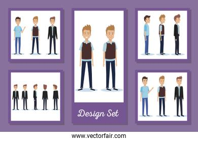 designs set of elegant businessmen