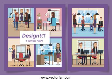 six designs of elegant business people in the workplaces