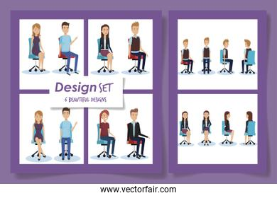 six cartels of elegant business people in the office chairs