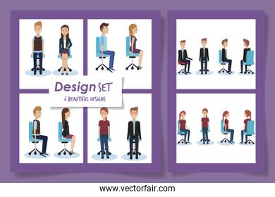 six designs of elegant business people in the office chairs