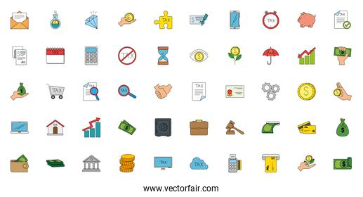 Isolated money and tax icon set vector design