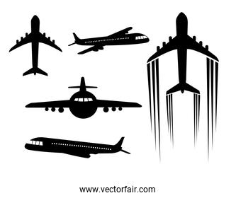 set of airplanes silhouettes icons