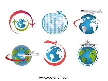 set of airplanes flying around the world