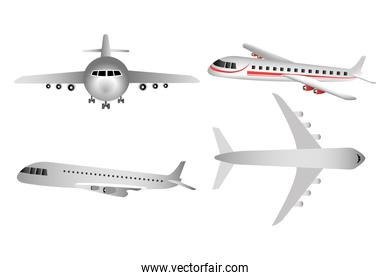 set of airplanes flying icons