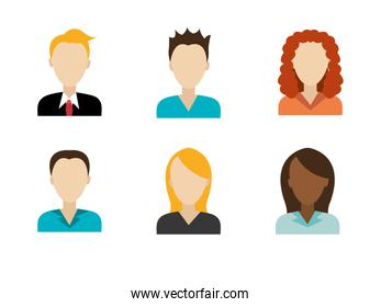 group faces of business people