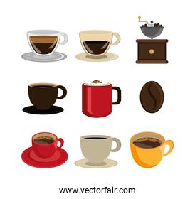 set of delicious coffee icons