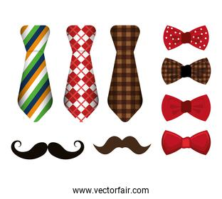 set of neckties and accessories masculine