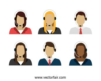group of workers call center
