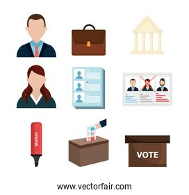 vote democracy of set icons