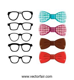 set of bowties and eyeglasses icons