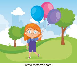 girl in park with balloons helium
