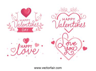 set of happy valentines day cards