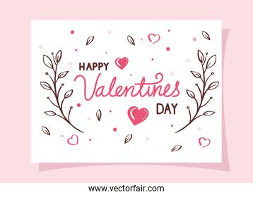 happy valentines day cards with branches and hearts