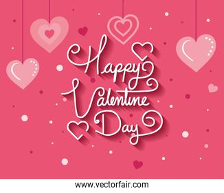 happy valentines day card with hearts decoration