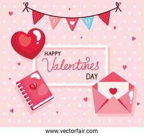 happy valentines day card with envelope and decoration