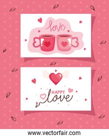 cards of happy valentines day with decoration