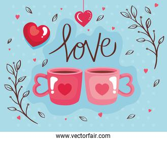 happy valentines day card with cups coffee