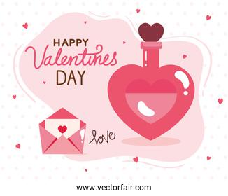 happy valentines day card and fragrance bottle with decoration
