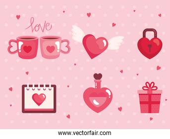 set of cute icons for happy valentines day