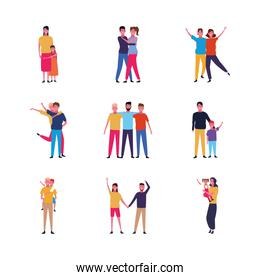 set of cartoon people family and friends happy