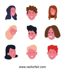 set of young people faces smiling