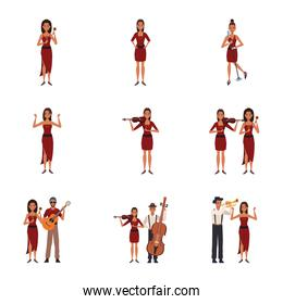 set of cartoon musicians women and men with instruments